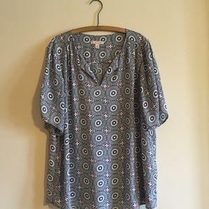 Dress Barn 2X Navy, white & fuchsia print blouse